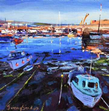 Jeremy Sanders Original Oil Painting Boats At Newlyn Cornwall